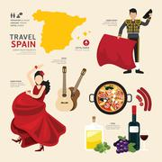 Travel concept spain landmark flat icons design .vector illustration Stock Illustration