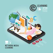 infographic education media learning template design . concept vector illustr - stock illustration
