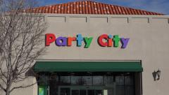Party City Store Building Focus Stock Footage