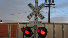Train Crossing Lights Stock Footage