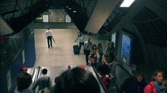 People walking out between of the tube stations in London, UK Stock Footage