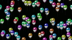 Grin smiling balloons generated seamless loop video with alpha matte - stock footage