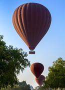 Silhouettes of balloons in sky, landing at sunrise in early morning Stock Photos