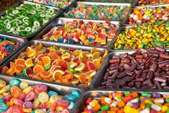 mixed colorful  bonbons and jellybeans - stock photo