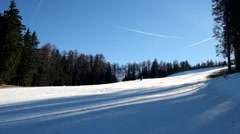 Fresh powder snow. Mountain ski resort and winter calm mountain landscape. - stock footage