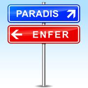 Stock Illustration of paradise and hell directions signs