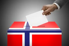 Ballot box painted into national flag colors - norway Stock Photos