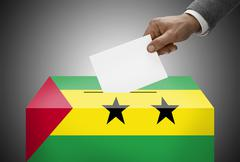 Stock Photo of ballot box painted into national flag colors - sao tome and principe