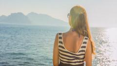 Young Female Tourist Vintage Summer Dress Looking Ocean View Island Tropical Stock Footage