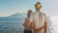 Handsome Young Couple Man Woman Enjoying Tropical Vacation Ocean Mediterranean Stock Footage