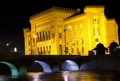 National library,in Sarajevo, capital city of Bosnia and Herzegovina, at night - stock photo