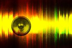 grunge music speaker with soundwaves - stock illustration