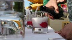 mixing a nice, fruity summer cocktail - stock footage
