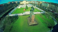 King Tomislav Square and statue in Zagreb Stock Footage