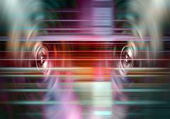 music speakers with light streaks - stock illustration