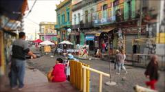 Quiet and Colourful Street in La Boca Neighbourhood, Argentina Stock Footage