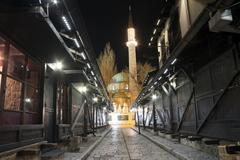 Sarajevo, Bascarsija, old city center, Bosnia and Herzegovina, at night - stock photo