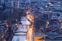 Cityscape of Sarajevo, Bosnia and Herzegovina - stock photo