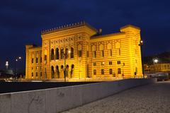 National library,in Sarajevo, capital city of Bosnia and Herzegovina, at night Stock Photos