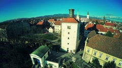 Upper Town Zagreb - aerial Arkistovideo