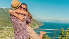 Cute Young Pretty Couple Hugging Running Joy Happy Vacation Holiday Ecstatic - stock footage