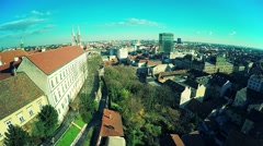 Upper Town Zagreb - aerial Stock Footage