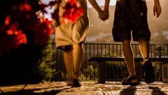 Romance Love Romantic Couple Man Woman Holiday Vacation Travel Europe Flower Stock Footage