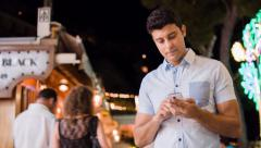 Successful Young Business Man Texting 3G 4G Smartphone Tablet Technology Sms App Stock Footage