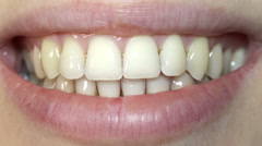 Super Close-up View of Woman Showing Teeth. Full HD Stock Footage