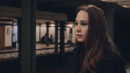 Stock Video Footage of Beautiful Teenage Girl Waiting in Subway- Cinema 4K