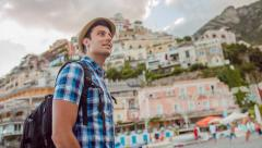 Tourist Man Exploring Vacation Holiday European Sea Town Beach Position Freedom Stock Footage