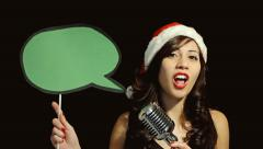 Music woman singer christmas balloon message - stock footage