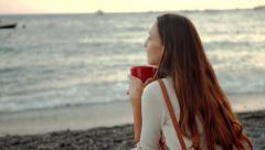 Beautiful Young Woman Drinking Coffee Beach Sea Shore View Boats Pier Relaxed Stock Footage