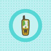 Mobile gps receiver flat icon Piirros