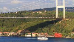 Close view of Istanbul Fatih Sultan Mehmet Bridge Stock Footage