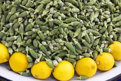 Okra Crop and lemon - stock photo