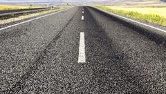 Stock Photo of highway in steppe ,long road stretching out into the distance