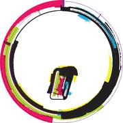 colorful grunge symbol - stock illustration