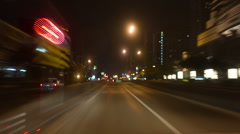 City driving at night time, Time Lapse Stock Footage