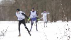 Ski race competition. Out of focus. Stock Footage