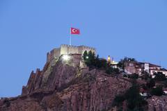 Ankara castle at night, Ankara, Turkey. Stock Photos