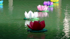 lotus paper river lantern floating in river - stock footage