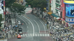 Time Lapse of Busy Shibuya Scramble Crossing From Above  - Tokyo Japan Stock Footage