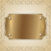 Vector abstract precious metal golden award plate Stock Illustration