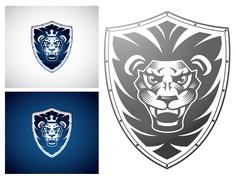 Lion on a Shield Stock Illustration