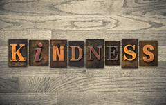 kindness wooden letterpress concept - stock photo