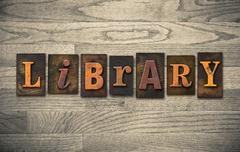 library wooden letterpress concept - stock photo