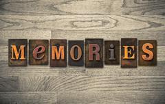 memories wooden letterpress concept - stock photo
