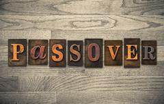 passover wooden letterpress concept - stock photo