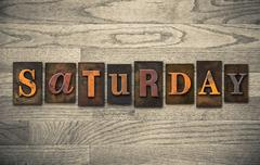 Saturday wooden letterpress concept Stock Photos